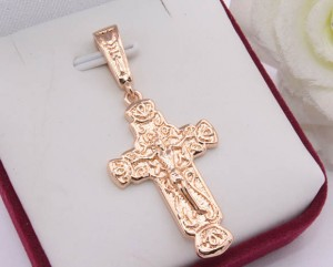 Крест позолоченный широкий