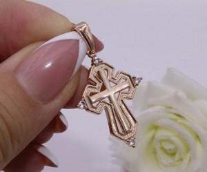 Крест позолоченный с белыми фианитами