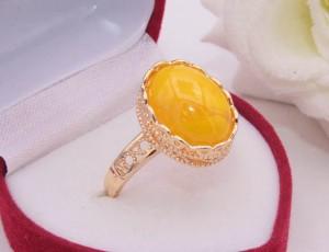 Кольцо с вставкой под янтарь R-0320 ювелирный сплав