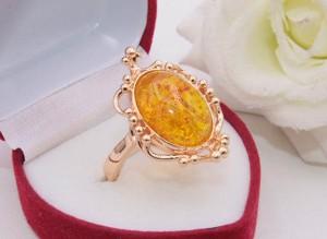 Кольцо ажурное с цветной вставкой R-0325 позолоченное
