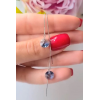 Cерьги-протяжки родированные с голубыми кристаллами Сваровски