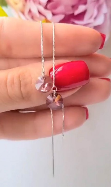 Cерьги-протяжки c розовыми кристаллами Сваровски