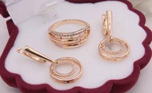 Комплект бижутерии кольцо и серьги с белыми фианитами