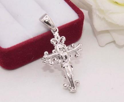 Крест ажурный с родиевым покрытием
