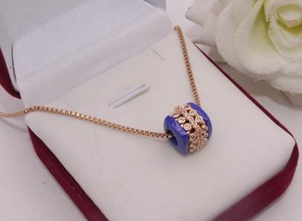 Кулон с цепочкой и синей керамической вставкой