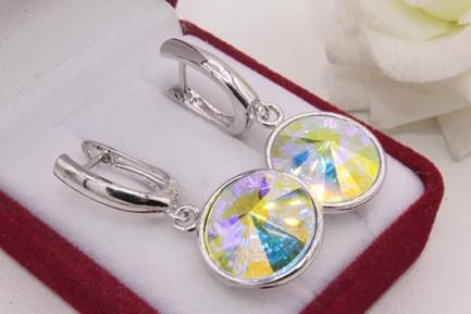 Cерьги родированные с разноцветными кристаллами Swarovski