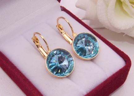 Cерьги позолоченные с голубыми кристаллами Swarovski