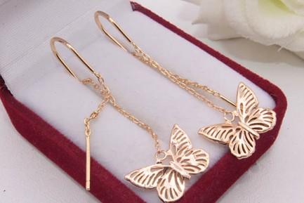 Cерьги-протяжки позолоченные бабочки