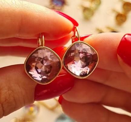 Cерьги с цветными розовыми кристаллами Сваровски