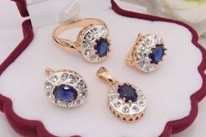 Комплект бижутерии с комбинированным покрытием и синими фианитами