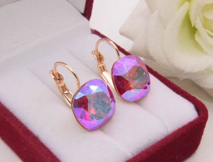 Cерьги c розовыми кристаллами Сваровски