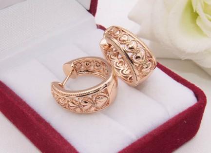 Серьги-кольца позолоченные ажурные E-1709