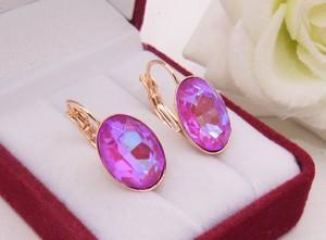 Cерьги c цветными кристаллами Сваровски E-1734 розовые
