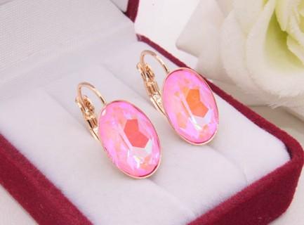 Cерьги с позолотой и розовыми кристаллами Сваровски E-1739