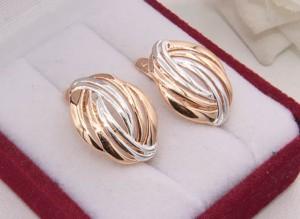 Серьги с покрытием белое и розовое золото E-1756