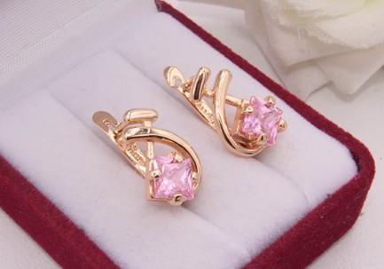 Серьги позолоченные с розовыми фианитами E-1765