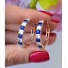Серьги с синими и белыми фианитами EAX-0847