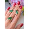 Комплект стильной бижутерии с зелеными фианитами ER-406-g-green