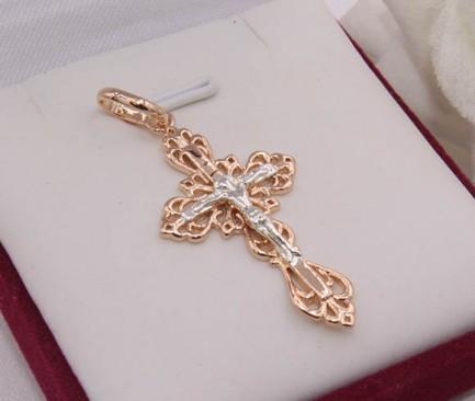 Крест ажурный позолоченный Krest-0054 бижутерия