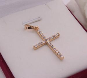 Крест фианитовый позолоченный Krest-0055