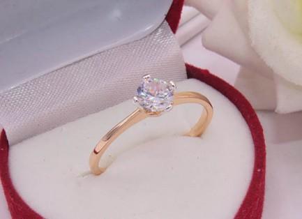 Кольцо позолоченное с фианитом R-0435 бижутерия